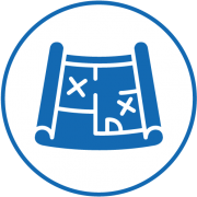 Icon einer Blaupause in blau