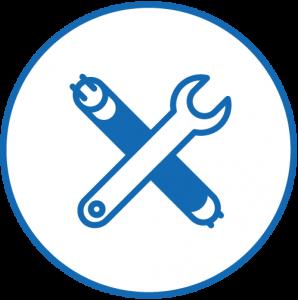 Icon von einer Leuchtröhre, die von einem Schraubenschlüssel gekreuzt wird, in blau