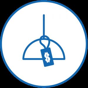 Icon einer Deckenlampe mit Preisschild in blau