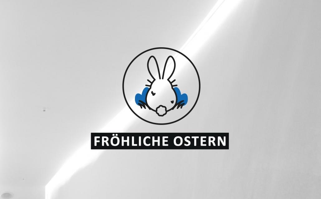 """Icon von einem Hasen von Hinten, mit dem Titel """"Fröhliche Ostern"""""""