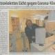 Bild aus Zeitungsanzeige mit Geschäftsführer Mertens, der die neuen UVC-Geräte vorstellt