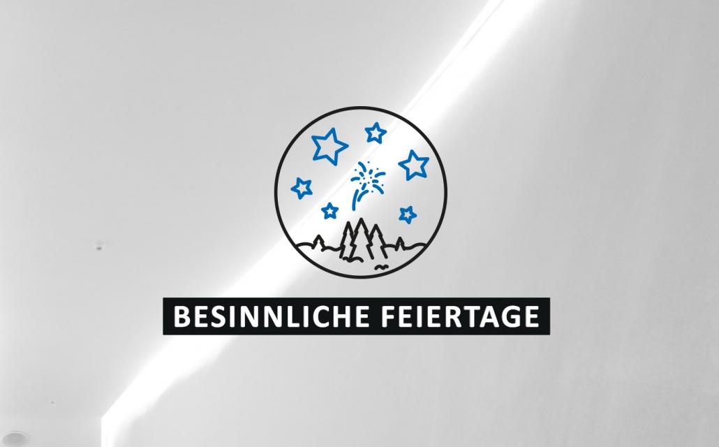 """Icon mit Tannenbäumen und Sternen. Dazu der Spruch """"Besinnliche Feiertage"""""""