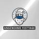 """Icon vom Weihnachtsmann mit Maske und dem Spruch """"Angenehme Festtage"""""""