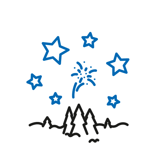 Icon, schwarze Tannenbäume mit blauen Sternen am Himmel