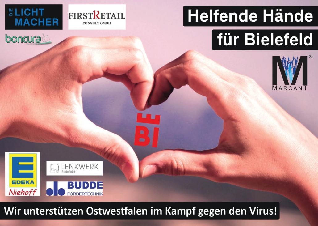 zwei Händen die ein Herz formen, in der Mitte ist das neue Logo von Bielefeld. Überschrift: Helfende Hände für Bielefeld. Zusatz: WIr unterstützen Ostwestfalen im Kampf gegen den Virus! Mit Logos der Firmen, die unterstützen.